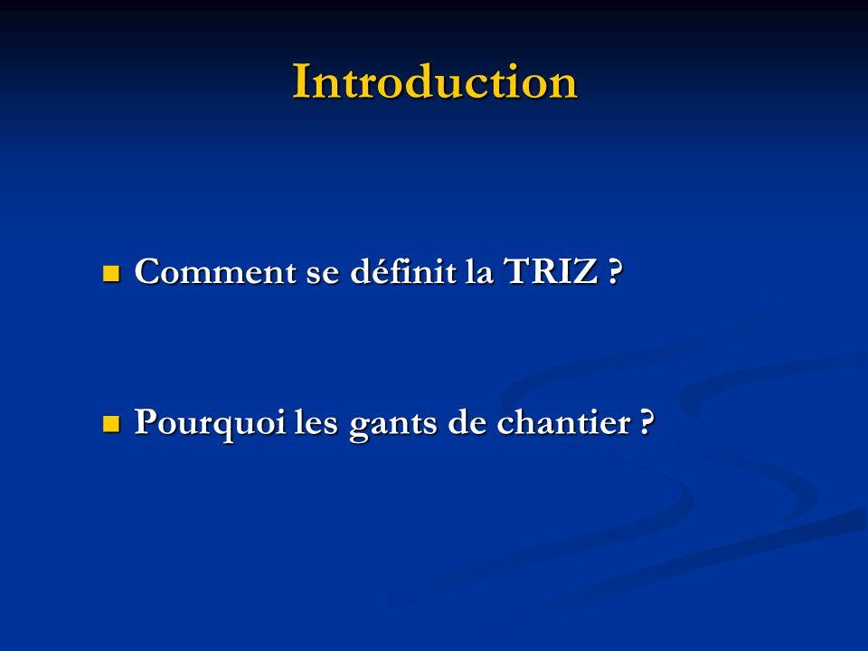Introduction Pourquoi les gants de chantier ? Pourquoi les gants de chantier ? Comment se définit la TRIZ ? Comment se définit la TRIZ ?