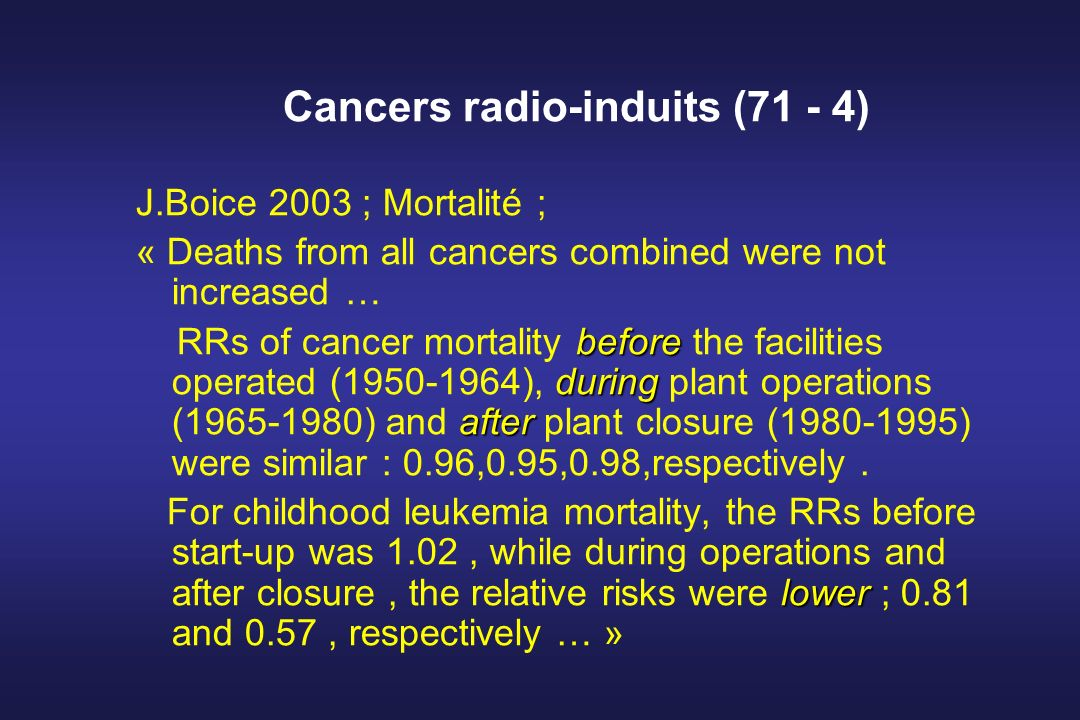 Cancers radio-induits (71 - 4) J.Boice 2003 ; Mortalité ; « Deaths from all cancers combined were not increased … before during after RRs of cancer mortality before the facilities operated (1950-1964), during plant operations (1965-1980) and after plant closure (1980-1995) were similar : 0.96,0.95,0.98,respectively.