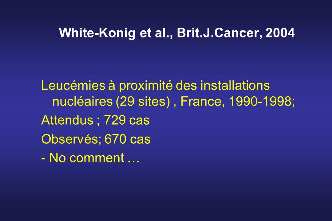 White-Konig et al., Brit.J.Cancer, 2004 Leucémies à proximité des installations nucléaires (29 sites), France, 1990-1998; Attendus ; 729 cas Observés;