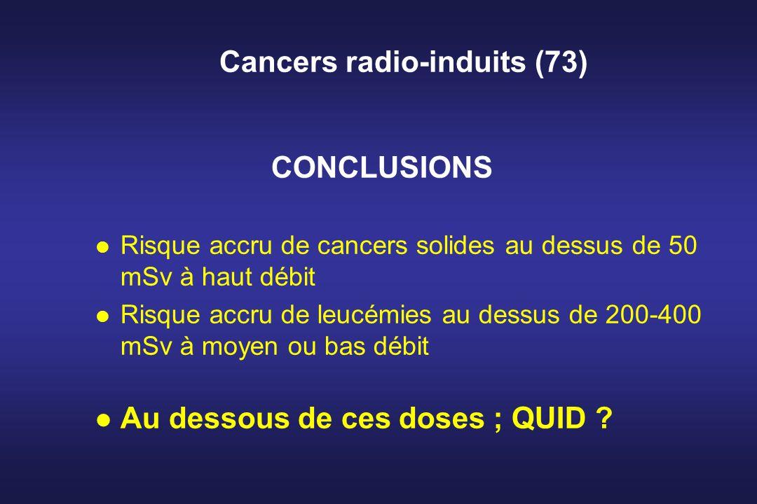 Cancers radio-induits (73) CONCLUSIONS l Risque accru de cancers solides au dessus de 50 mSv à haut débit l Risque accru de leucémies au dessus de 200