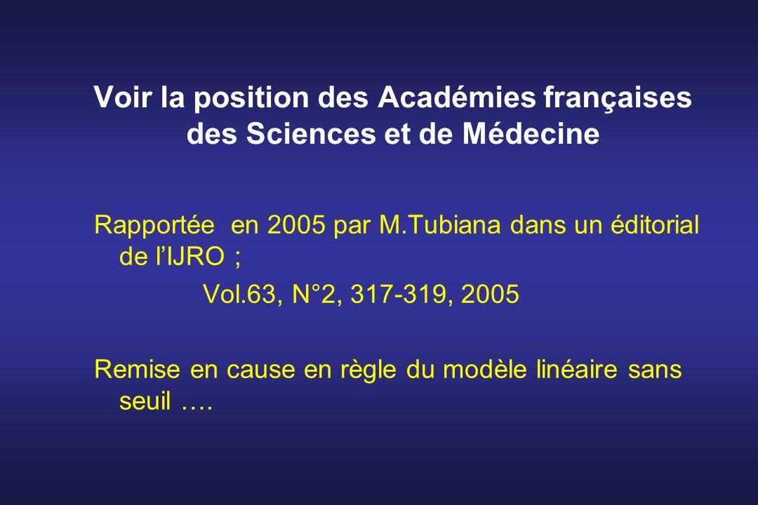 Voir la position des Académies françaises des Sciences et de Médecine Rapportée en 2005 par M.Tubiana dans un éditorial de lIJRO ; Vol.63, N°2, 317-31