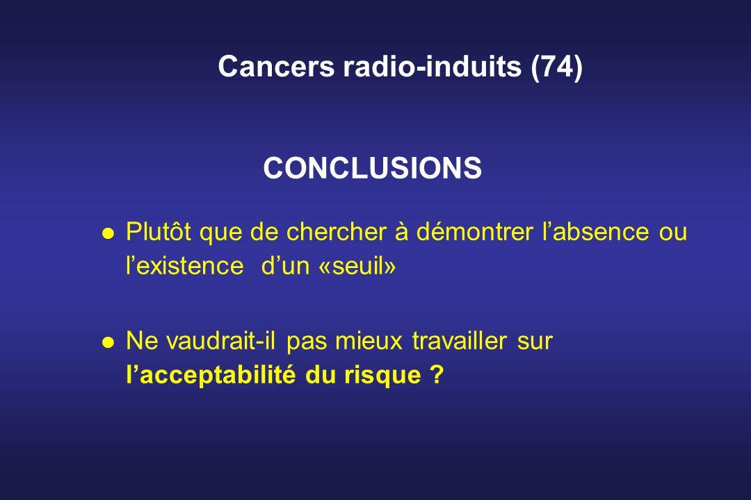 Cancers radio-induits (74) l Plutôt que de chercher à démontrer labsence ou lexistence dun «seuil» l Ne vaudrait-il pas mieux travailler sur lacceptab