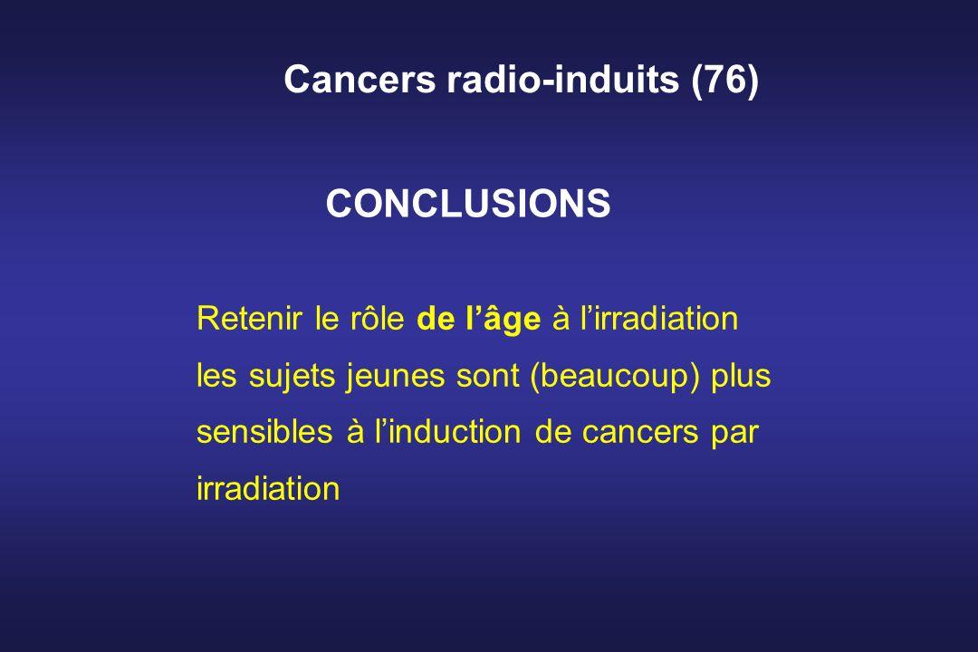 Cancers radio-induits (76) Retenir le rôle de lâge à lirradiation les sujets jeunes sont (beaucoup) plus sensibles à linduction de cancers par irradia