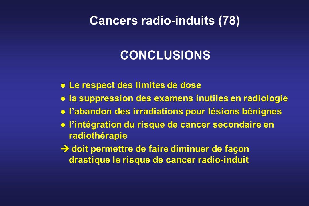 Cancers radio-induits (78) l Le respect des limites de dose l la suppression des examens inutiles en radiologie l labandon des irradiations pour lésio
