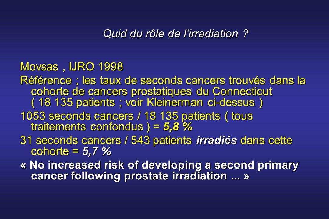 Quid du rôle de lirradiation ? Movsas, IJRO 1998 Référence ; les taux de seconds cancers trouvés dans la cohorte de cancers prostatiques du Connecticu