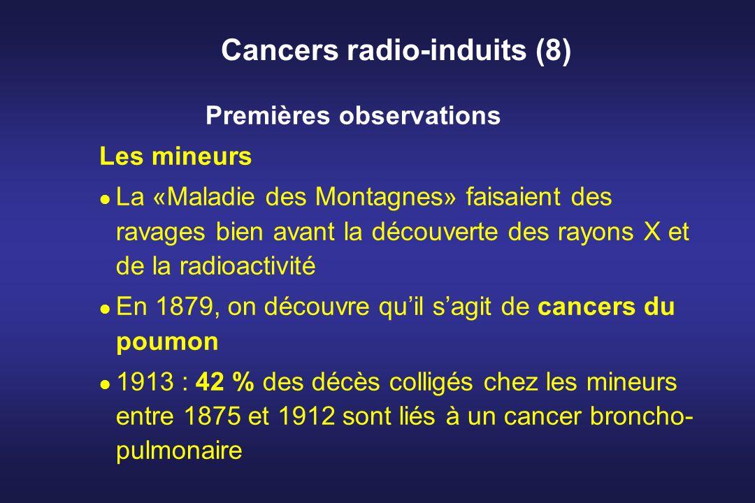 Cancers radio-induits (8) Premières observations Les mineurs La «Maladie des Montagnes» faisaient des ravages bien avant la découverte des rayons X et