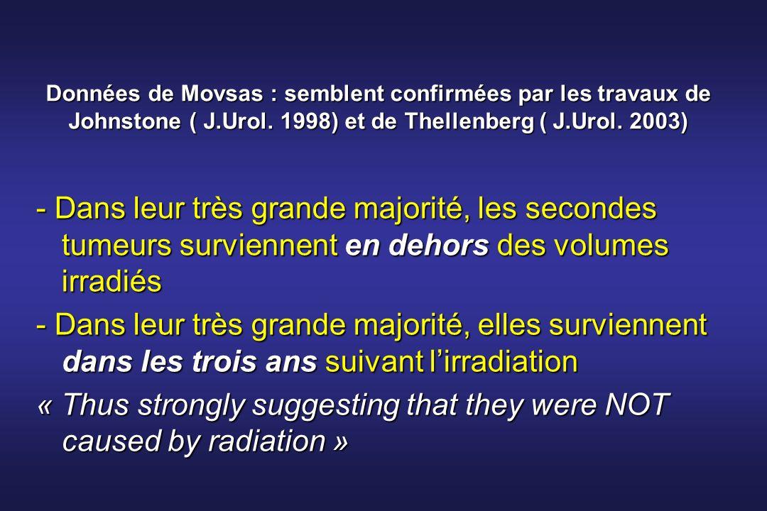 Données de Movsas : semblent confirmées par les travaux de Johnstone ( J.Urol. 1998) et de Thellenberg ( J.Urol. 2003) - Dans leur très grande majorit