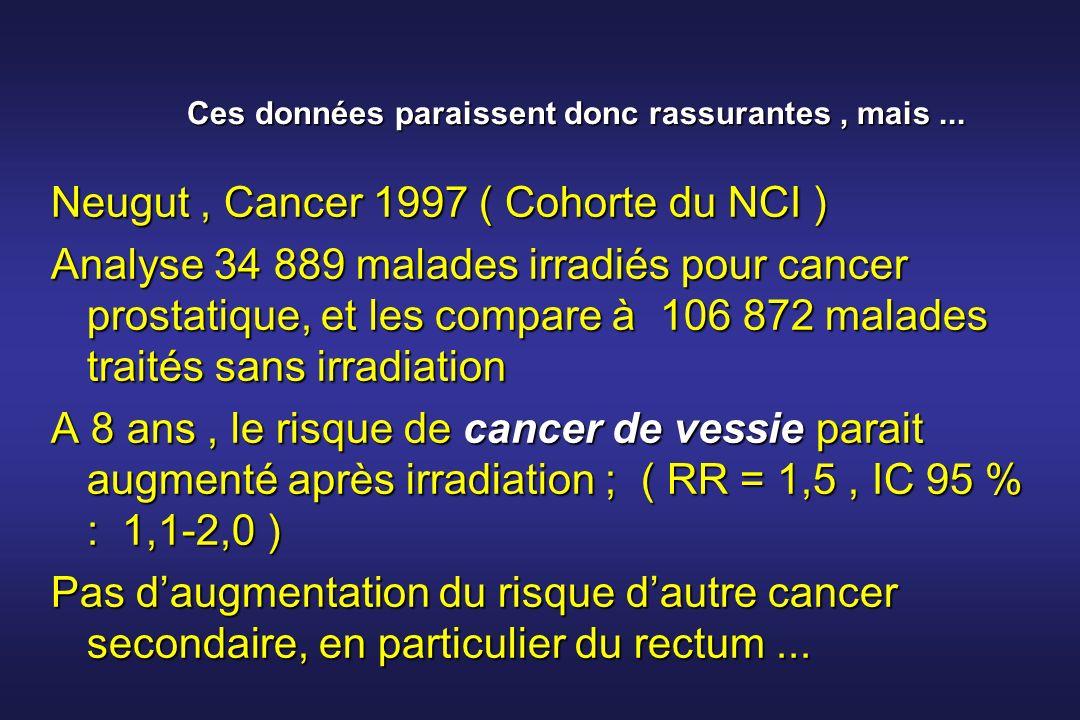 Ces données paraissent donc rassurantes, mais... Neugut, Cancer 1997 ( Cohorte du NCI ) Analyse 34 889 malades irradiés pour cancer prostatique, et le