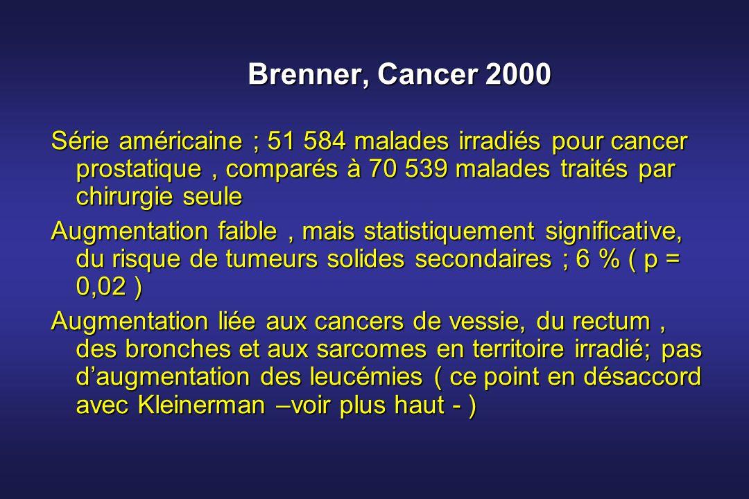 Brenner, Cancer 2000 Série américaine ; 51 584 malades irradiés pour cancer prostatique, comparés à 70 539 malades traités par chirurgie seule Augment
