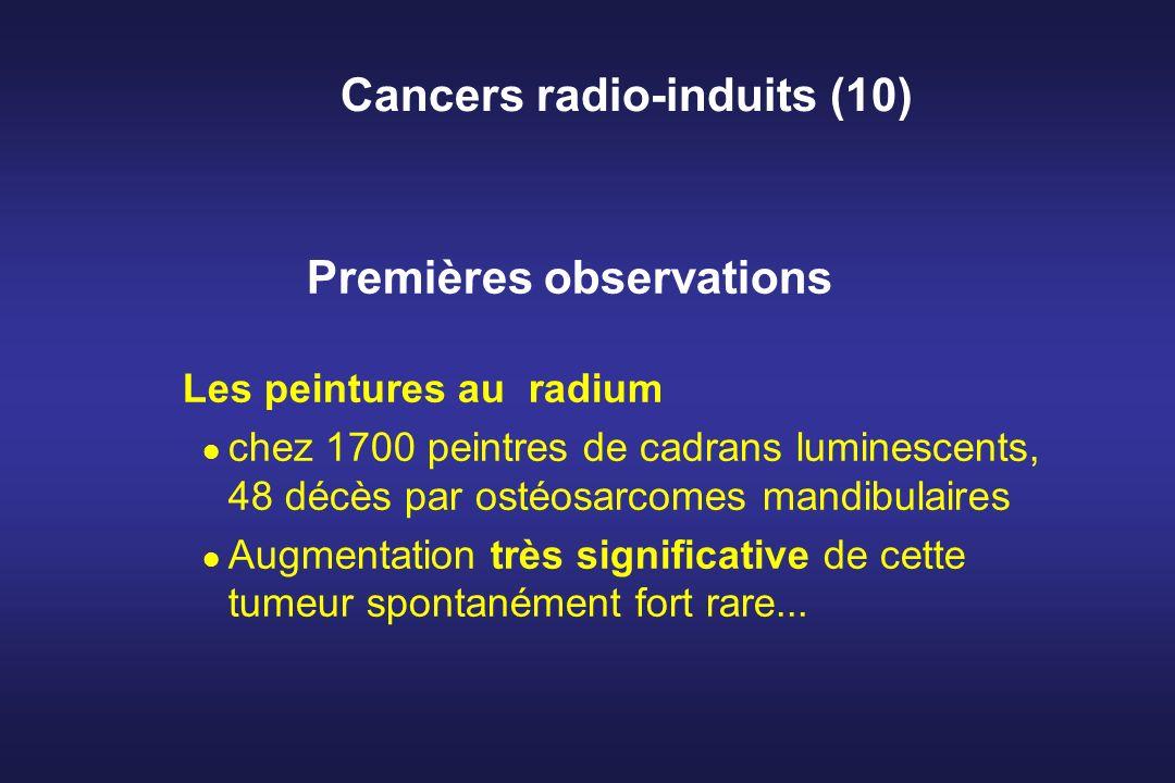 Cancers radio-induits (10) Premières observations Les peintures au radium chez 1700 peintres de cadrans luminescents, 48 décès par ostéosarcomes mandi