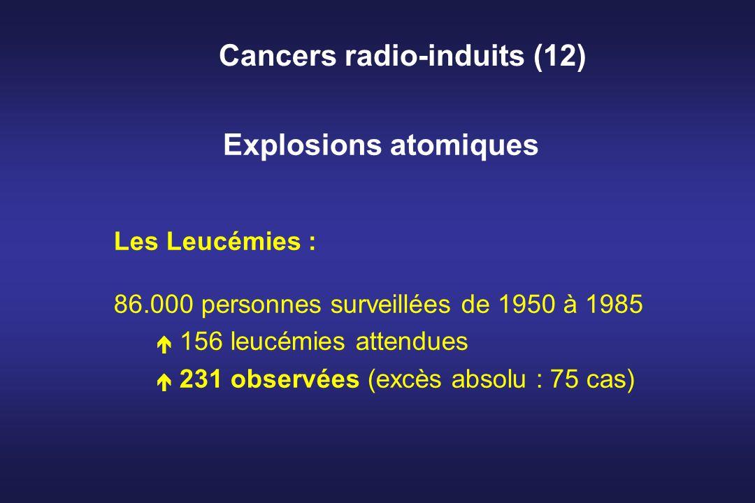 Cancers radio-induits (12) Explosions atomiques Les Leucémies : 86.000 personnes surveillées de 1950 à 1985 é 156 leucémies attendues é 231 observées