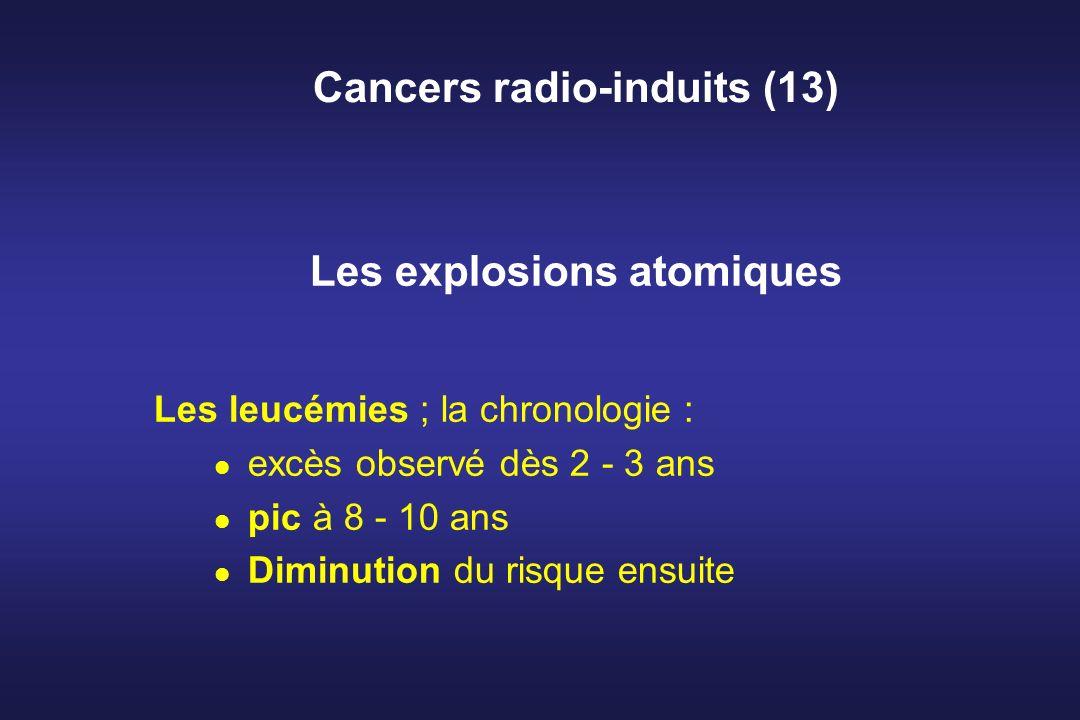 Cancers radio-induits (13) Les explosions atomiques Les leucémies ; la chronologie : excès observé dès 2 - 3 ans pic à 8 - 10 ans Diminution du risque