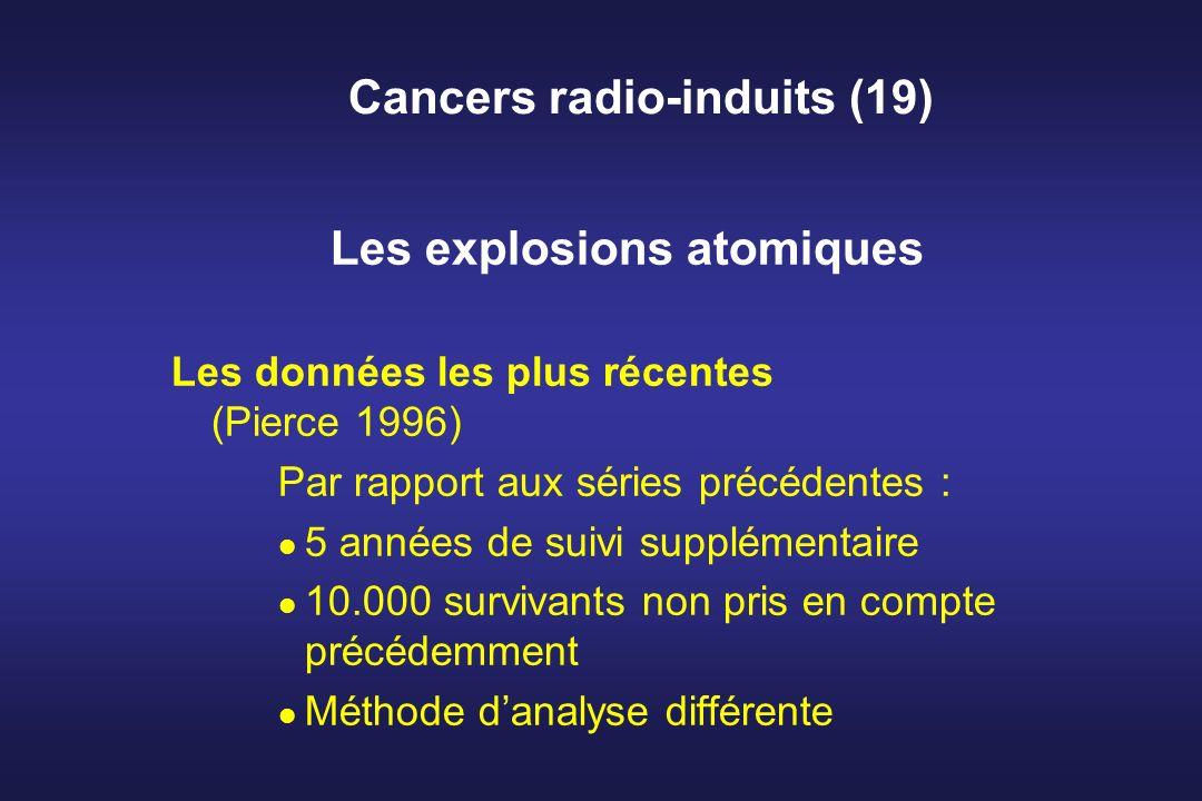 Cancers radio-induits (19) Les explosions atomiques Les données les plus récentes (Pierce 1996) Par rapport aux séries précédentes : 5 années de suivi