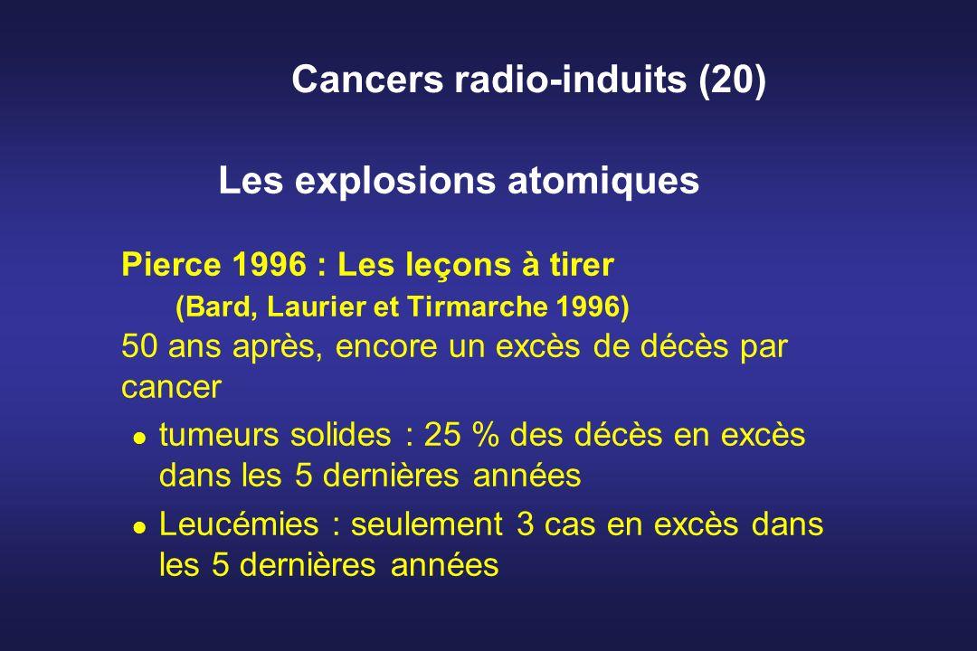 Cancers radio-induits (20) Les explosions atomiques Pierce 1996 : Les leçons à tirer (Bard, Laurier et Tirmarche 1996) 50 ans après, encore un excès d
