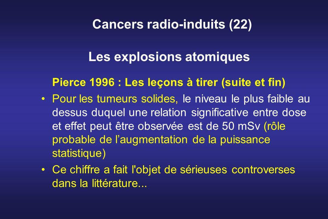 Cancers radio-induits (22) Les explosions atomiques Pierce 1996 : Les leçons à tirer (suite et fin) Pour les tumeurs solides, le niveau le plus faible