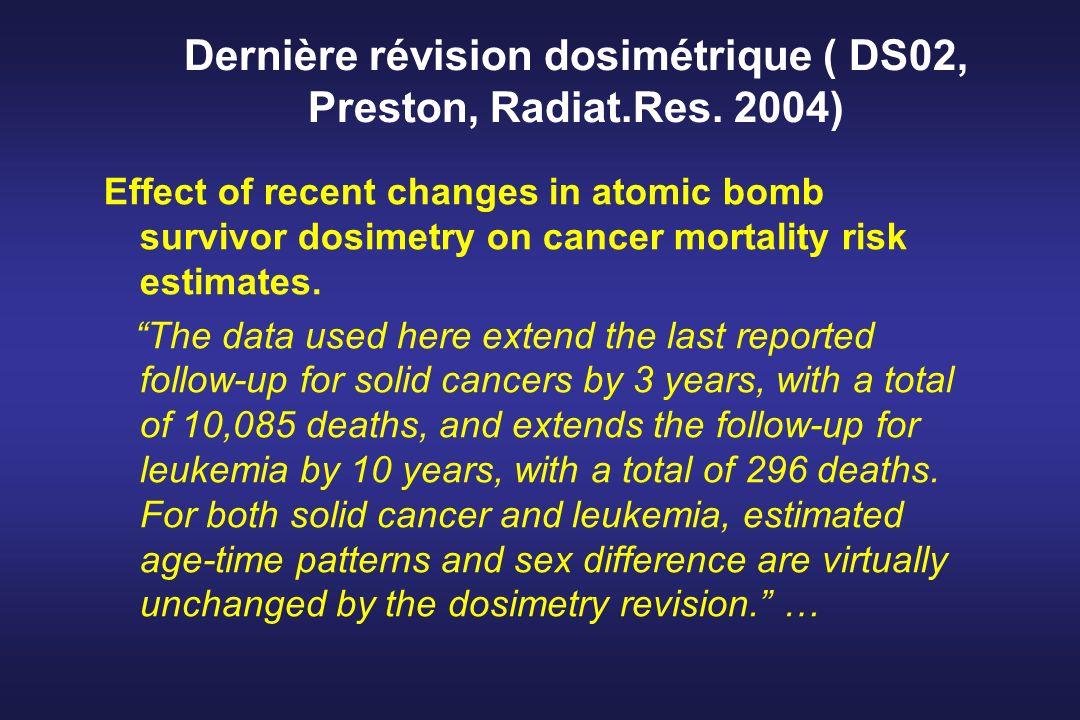 Dernière révision dosimétrique ( DS02, Preston, Radiat.Res. 2004) Effect of recent changes in atomic bomb survivor dosimetry on cancer mortality risk