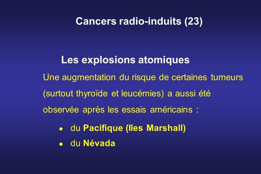 Cancers radio-induits (23) Les explosions atomiques Une augmentation du risque de certaines tumeurs (surtout thyroïde et leucémies) a aussi été observ