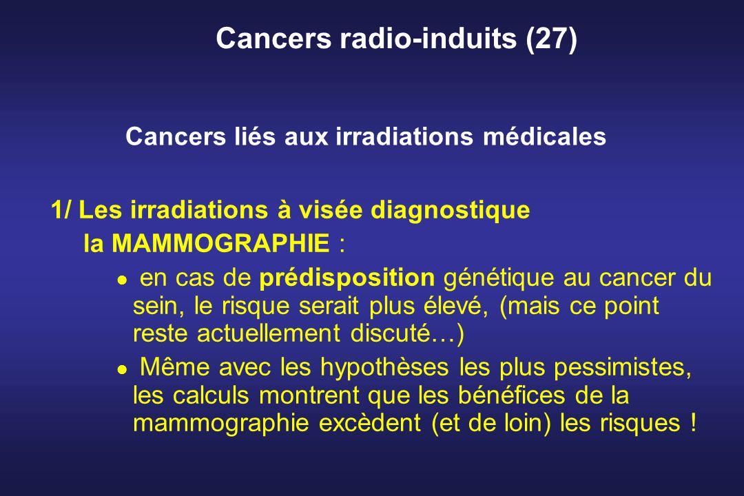 Cancers radio-induits (27) 1/ Les irradiations à visée diagnostique la MAMMOGRAPHIE : en cas de prédisposition génétique au cancer du sein, le risque