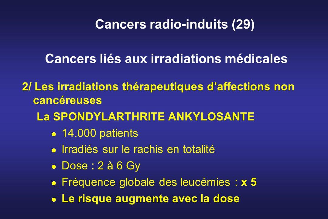 Cancers radio-induits (29) 2/ Les irradiations thérapeutiques daffections non cancéreuses La SPONDYLARTHRITE ANKYLOSANTE l 14.000 patients l Irradiés