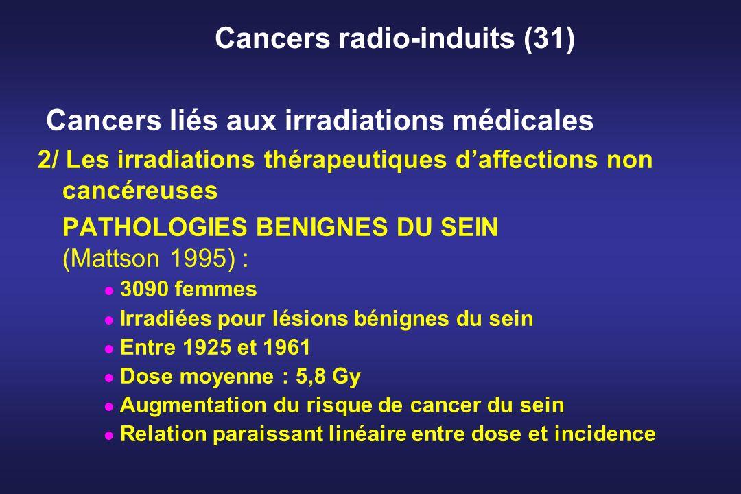 Cancers radio-induits (31) Cancers liés aux irradiations médicales 2/ Les irradiations thérapeutiques daffections non cancéreuses PATHOLOGIES BENIGNES