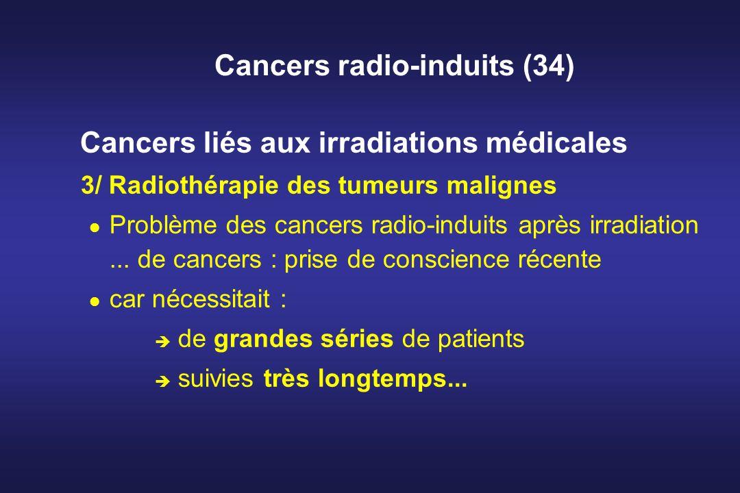 Cancers radio-induits (34) Cancers liés aux irradiations médicales 3/ Radiothérapie des tumeurs malignes Problème des cancers radio-induits après irra