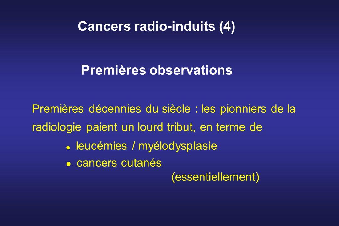 Cancers radio-induits (4) Premières observations Premières décennies du siècle : les pionniers de la radiologie paient un lourd tribut, en terme de le