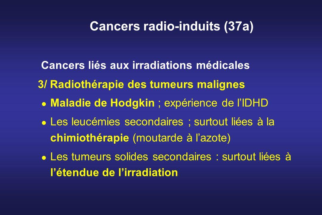 Cancers radio-induits (37a) Cancers liés aux irradiations médicales 3/ Radiothérapie des tumeurs malignes Maladie de Hodgkin ; expérience de lIDHD Les