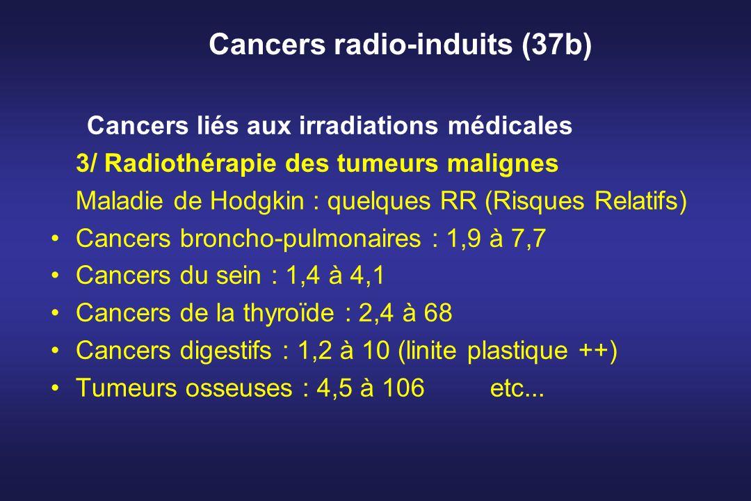 Cancers radio-induits (37b) Cancers liés aux irradiations médicales 3/ Radiothérapie des tumeurs malignes Maladie de Hodgkin : quelques RR (Risques Re