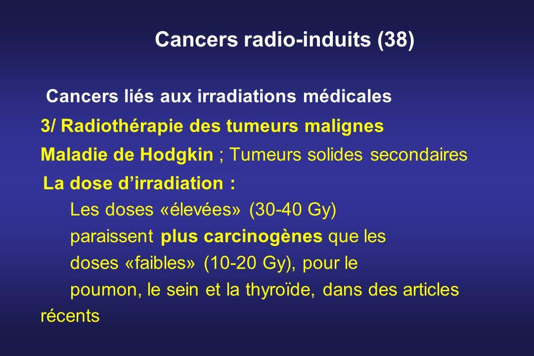 Cancers radio-induits (38) Cancers liés aux irradiations médicales 3/ Radiothérapie des tumeurs malignes Maladie de Hodgkin ; Tumeurs solides secondai