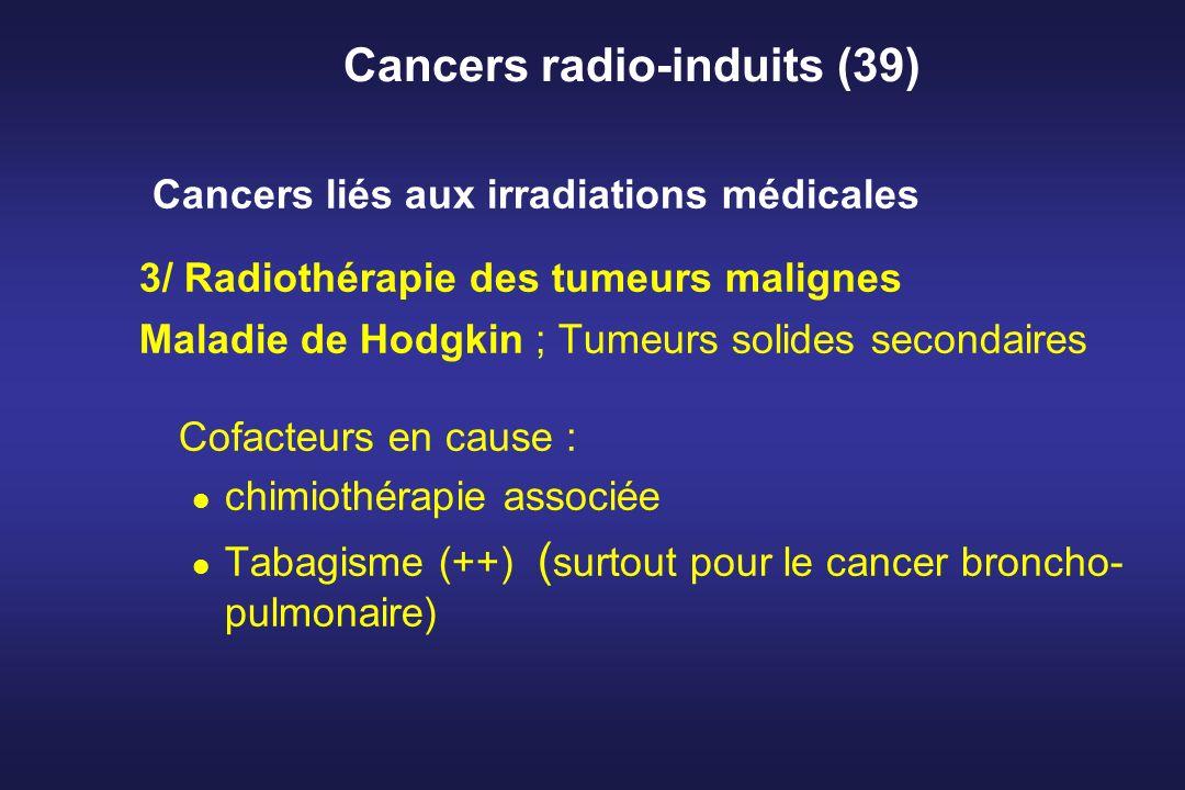 Cancers radio-induits (39) Cancers liés aux irradiations médicales 3/ Radiothérapie des tumeurs malignes Maladie de Hodgkin ; Tumeurs solides secondai