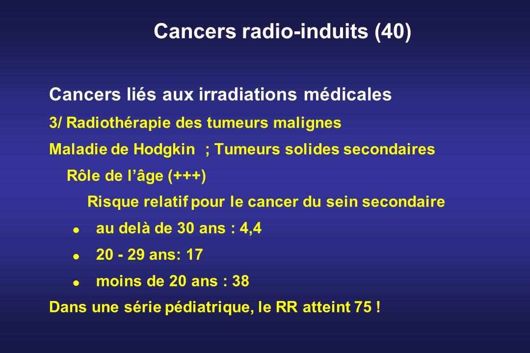Cancers radio-induits (40) Cancers liés aux irradiations médicales 3/ Radiothérapie des tumeurs malignes Maladie de Hodgkin ; Tumeurs solides secondai
