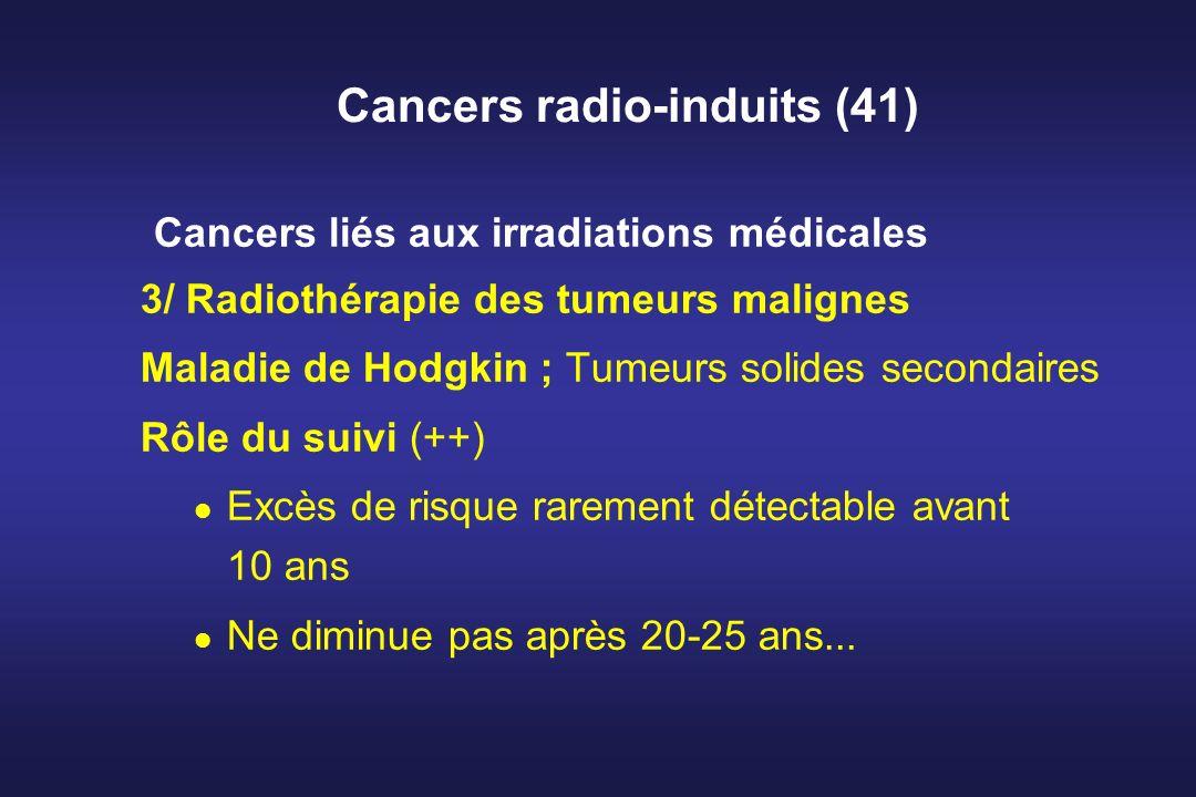 Cancers radio-induits (41) Cancers liés aux irradiations médicales 3/ Radiothérapie des tumeurs malignes Maladie de Hodgkin ; Tumeurs solides secondai