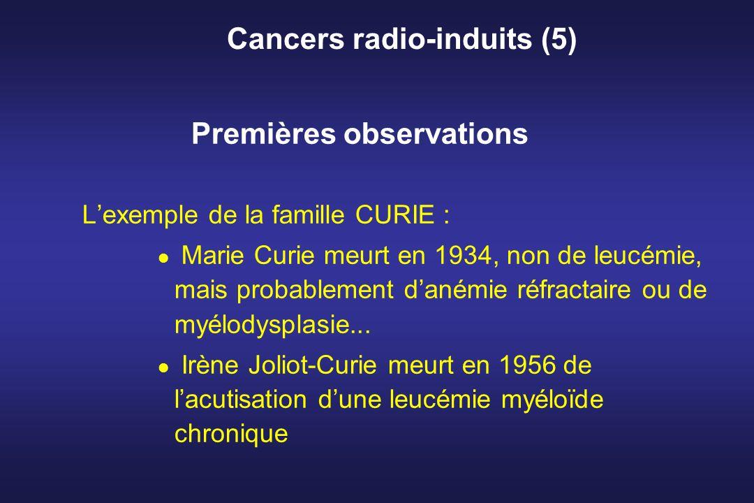 Cancers radio-induits (5) Premières observations Lexemple de la famille CURIE : Marie Curie meurt en 1934, non de leucémie, mais probablement danémie