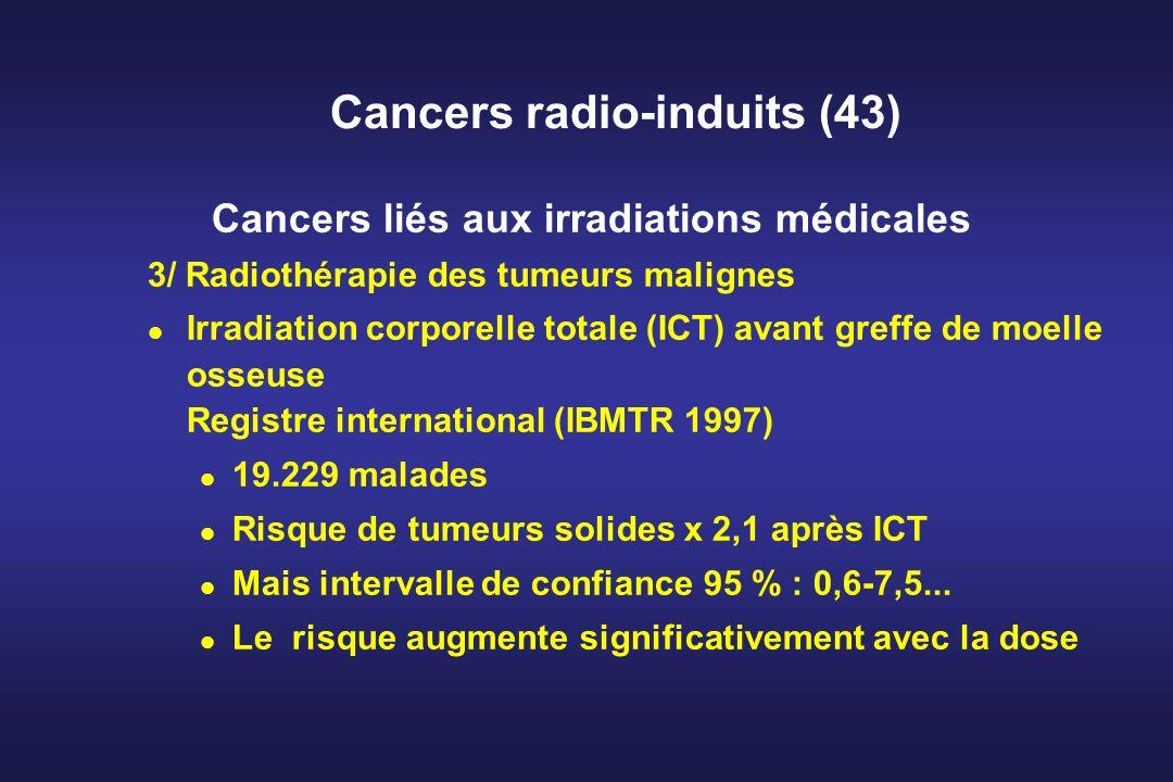 Cancers radio-induits (43) Cancers liés aux irradiations médicales 3/ Radiothérapie des tumeurs malignes Irradiation corporelle totale (ICT) avant gre