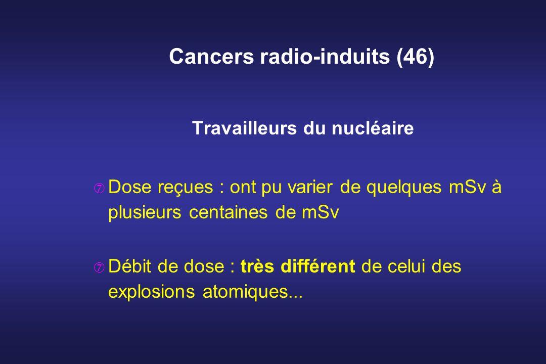 Cancers radio-induits (46) Travailleurs du nucléaire Dose reçues : ont pu varier de quelques mSv à plusieurs centaines de mSv Débit de dose : très dif