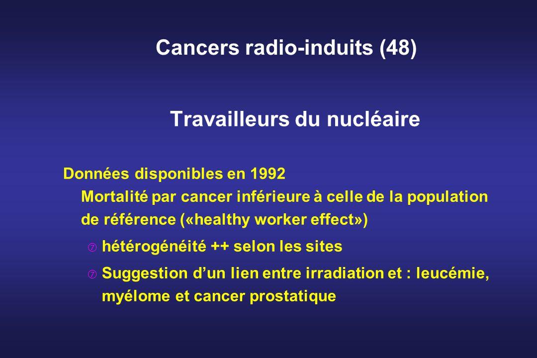 Cancers radio-induits (48) Travailleurs du nucléaire Données disponibles en 1992 Mortalité par cancer inférieure à celle de la population de référence