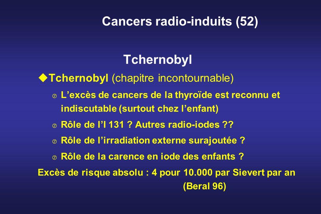 Cancers radio-induits (52) Tchernobyl uTchernobyl (chapitre incontournable) Lexcès de cancers de la thyroïde est reconnu et indiscutable (surtout chez