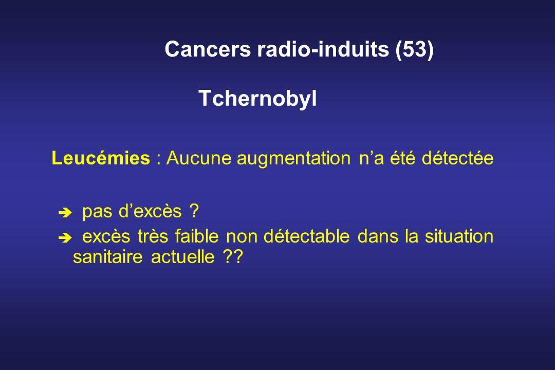 Cancers radio-induits (53) Tchernobyl Leucémies : Aucune augmentation na été détectée è pas dexcès ? excès très faible non détectable dans la situatio