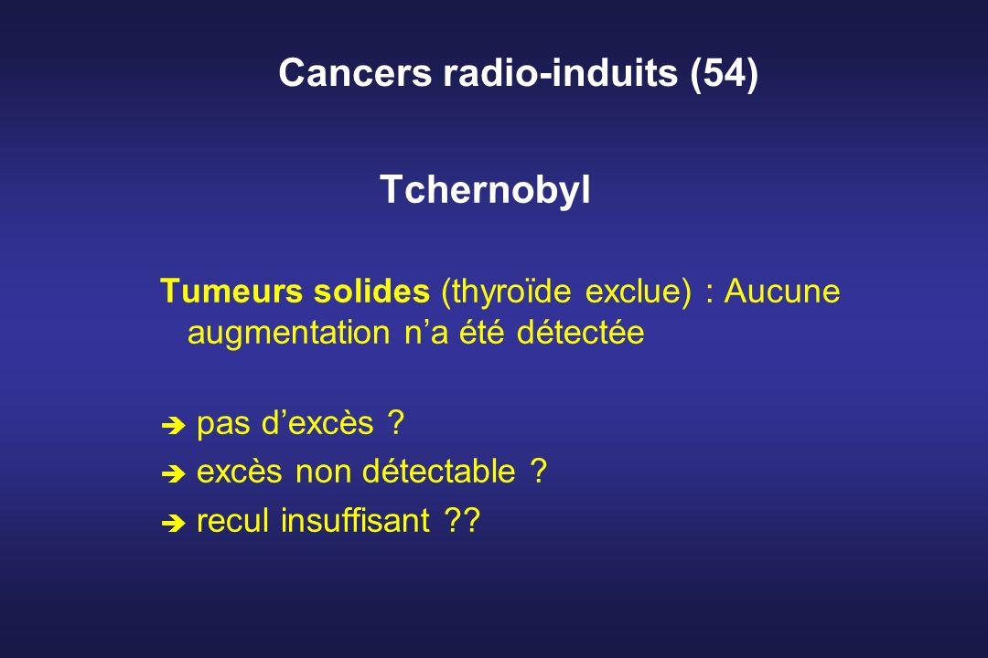 Cancers radio-induits (54) Tchernobyl Tumeurs solides (thyroïde exclue) : Aucune augmentation na été détectée è pas dexcès ? è excès non détectable ?