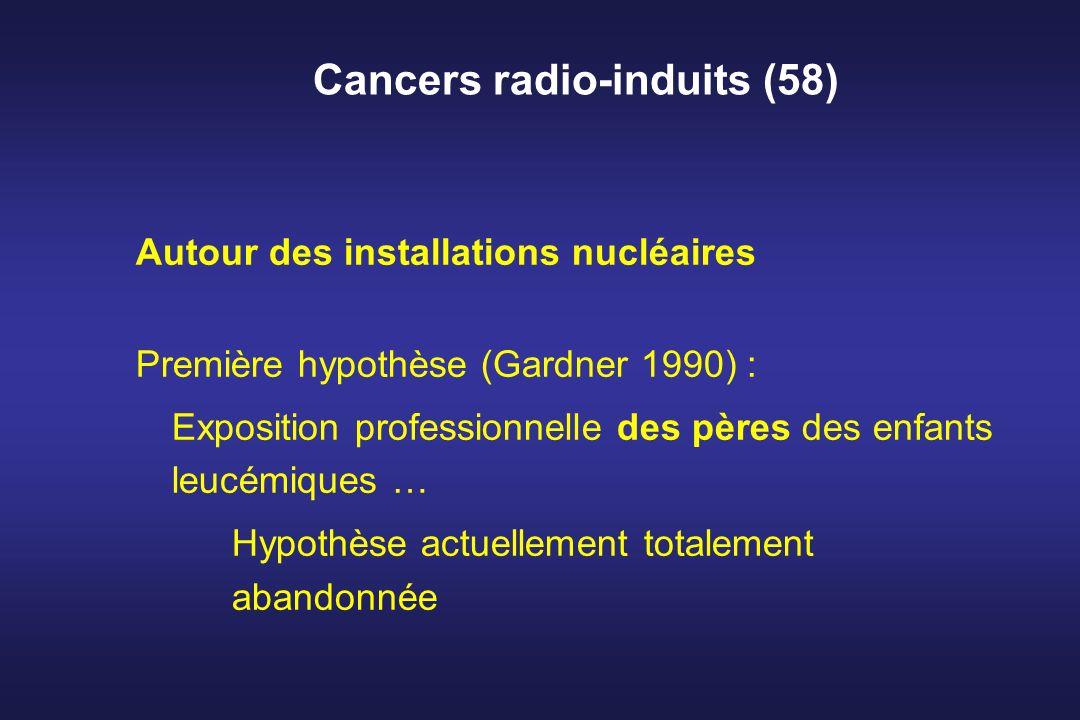 Cancers radio-induits (58) Autour des installations nucléaires Première hypothèse (Gardner 1990) : Exposition professionnelle des pères des enfants le