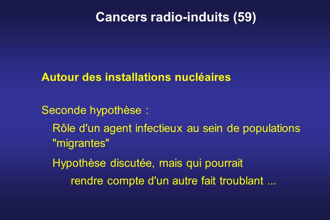 Cancers radio-induits (59) Autour des installations nucléaires Seconde hypothèse : Rôle d'un agent infectieux au sein de populations