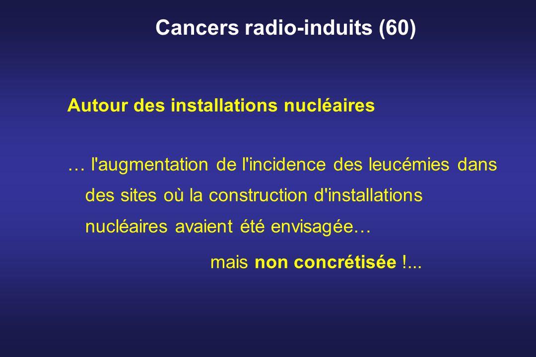 Cancers radio-induits (60) Autour des installations nucléaires … l'augmentation de l'incidence des leucémies dans des sites où la construction d'insta