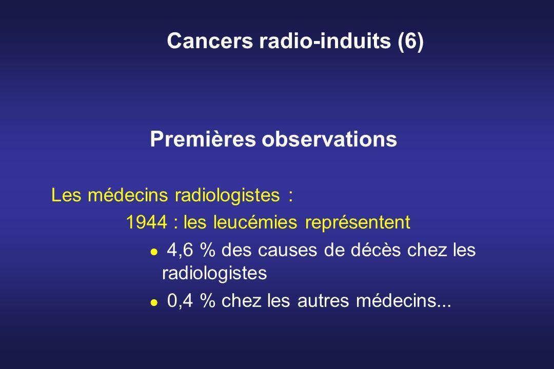 Cancers radio-induits (6) Premières observations Les médecins radiologistes : 1944 : les leucémies représentent 4,6 % des causes de décès chez les rad