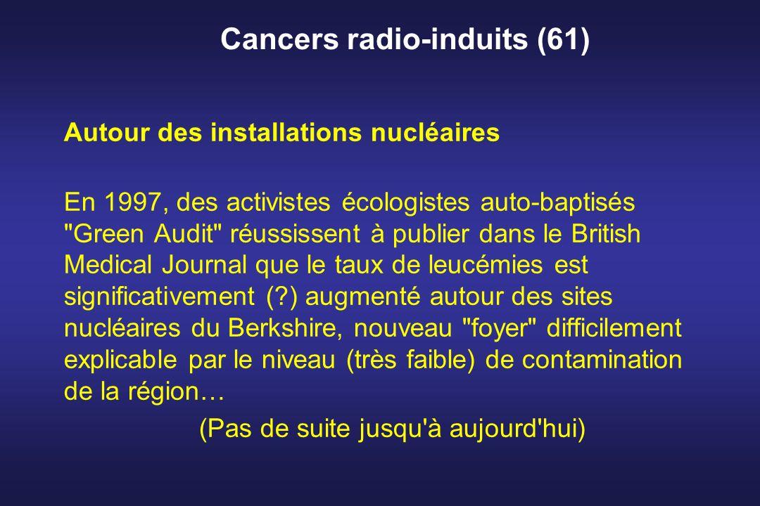 Cancers radio-induits (61) Autour des installations nucléaires En 1997, des activistes écologistes auto-baptisés