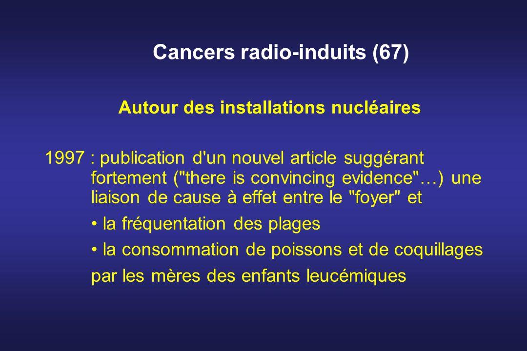 Cancers radio-induits (67) Autour des installations nucléaires 1997 : publication d'un nouvel article suggérant fortement (