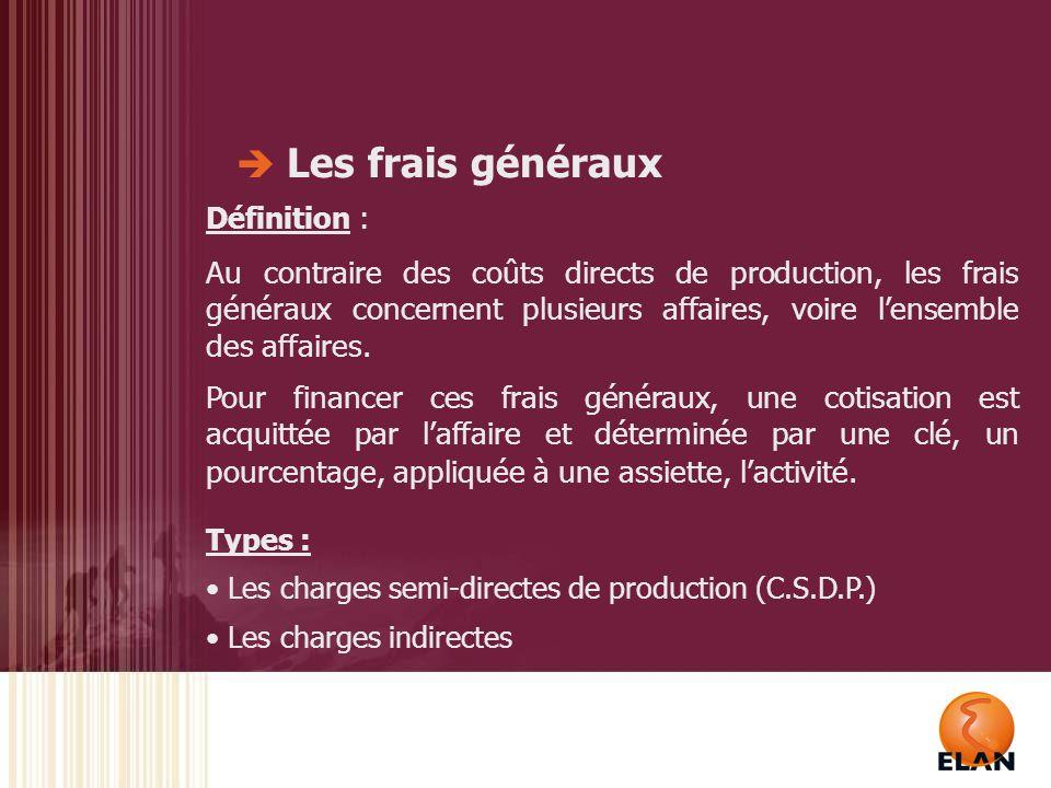 Les frais généraux Application ELAN : - Distinction CSDP – Charges Indirectes - Financement des frais généraux : Cotisation de 25% sur affaires en Production Propre Cotisation de 10% sur affaires en sous-traitance - Gestion de lécart CSDP et de lécart Charges Indirectes