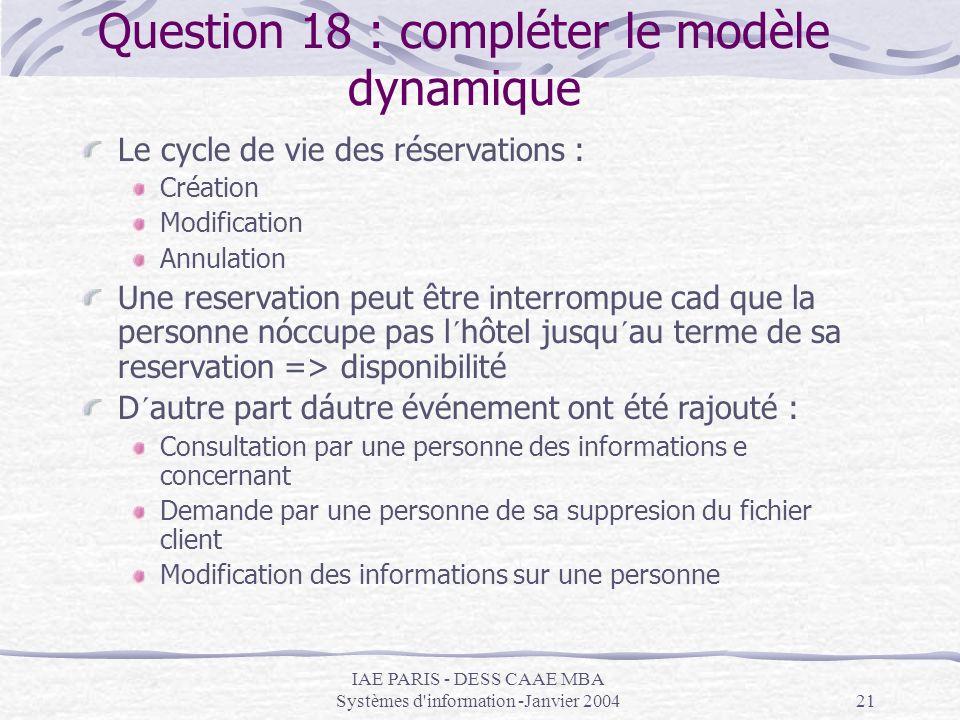 IAE PARIS - DESS CAAE MBA Systèmes d'information -Janvier 200421 Question 18 : compléter le modèle dynamique Le cycle de vie des réservations : Créati
