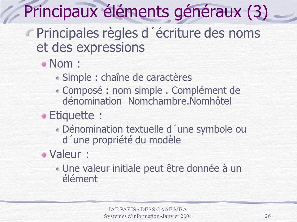 IAE PARIS - DESS CAAE MBA Systèmes d'information -Janvier 200426 Principaux éléments généraux (3) Principales règles d´écriture des noms et des expres