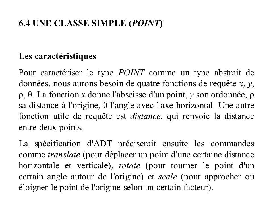 6.4 UNE CLASSE SIMPLE (POINT) Les caractéristiques Pour caractériser le type POINT comme un type abstrait de données, nous aurons besoin de quatre fon