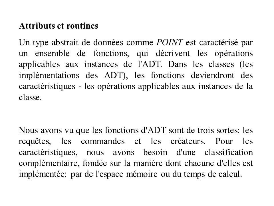Attributs et routines Un type abstrait de données comme POINT est caractérisé par un ensemble de fonctions, qui décrivent les opérations applicables a